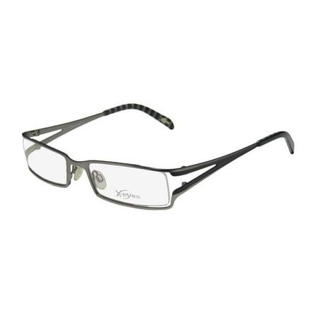New Continental Adjustable Nosepads Eyewear X-Eyes 107 Mens Designer Full-Rim Gunmetal / Black Frame Demo Lenses 53-19-135 Eyeglasses/Glasses