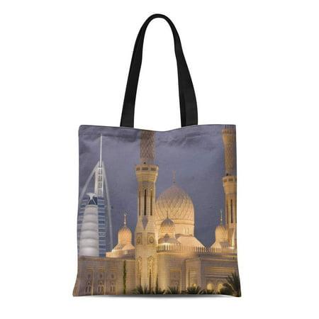 JSDART Canvas Tote Bag Nobody Uae Dubai in Evening Burj Al Religion Modern Reusable Handbag Shoulder Grocery Shopping Bags - image 1 of 1