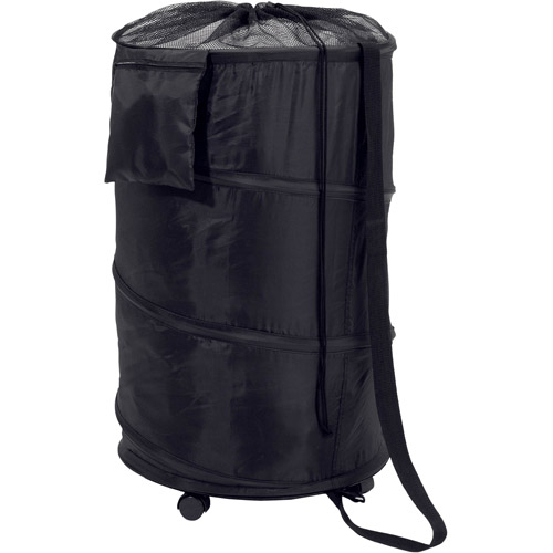 Honey Can Do Large Folding Nylon Rolling Pop-Up Hamper, Black