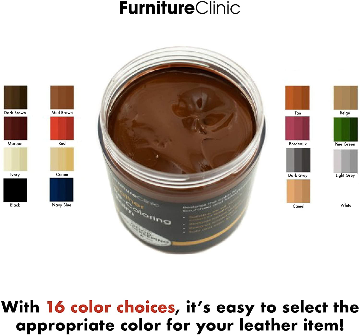 Furniture Clinic Leather Recoloring Balm Leather Color Restorer for Furnitu...