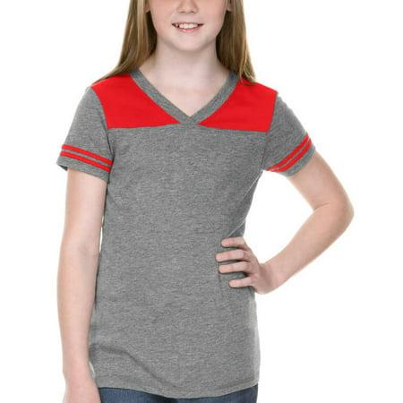 Kavio Big Girls 7-16 Sheer Jersey V Neck Football T-Shirt - GJP0604 - High School Football Tshirt Designs