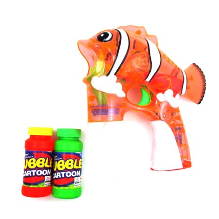 Fish Flash Toy Bubble Gun Shooter  Clear Orange   Gift Idea