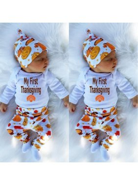 e3050ca7316 Product Image Thanksgiving Newborn Baby Boys Girls Clothes Tops Romper Pants  Leggings Hat Outfits Set