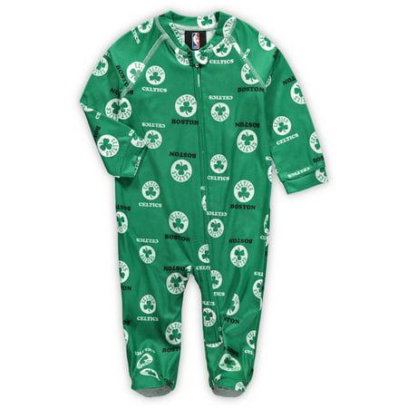 Boston Celtics Newborn & Infant Zip-Up Raglan Jumper Pajamas - Kelly Green