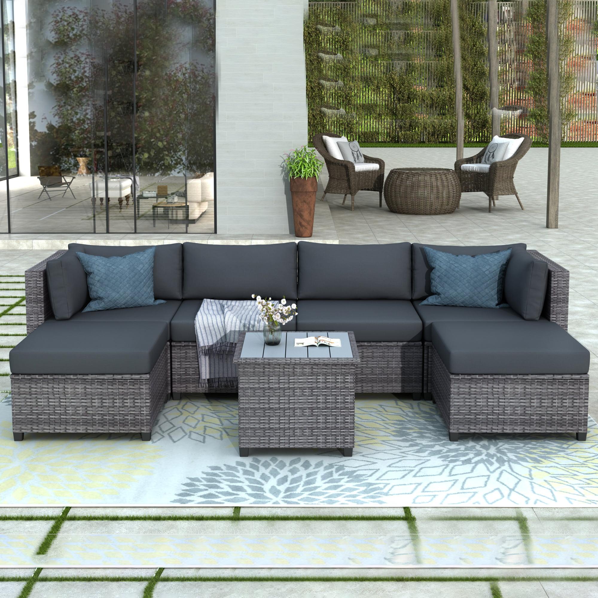 Outdoor Patio Furniture Set, 7 Piece Ratten Wicker ...