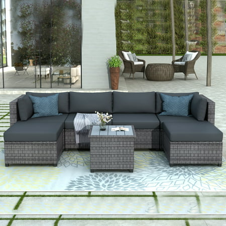 Rattan Wicker Sectional Sofa Set, Clearance 7 Piece Outdoor Patio Furniture Set, Patio Sectional Sofa w/2 Ottoman&Coffee Table, Patio Conversation Set for Backyard Lawn Poolside Garden, Gray, W10042