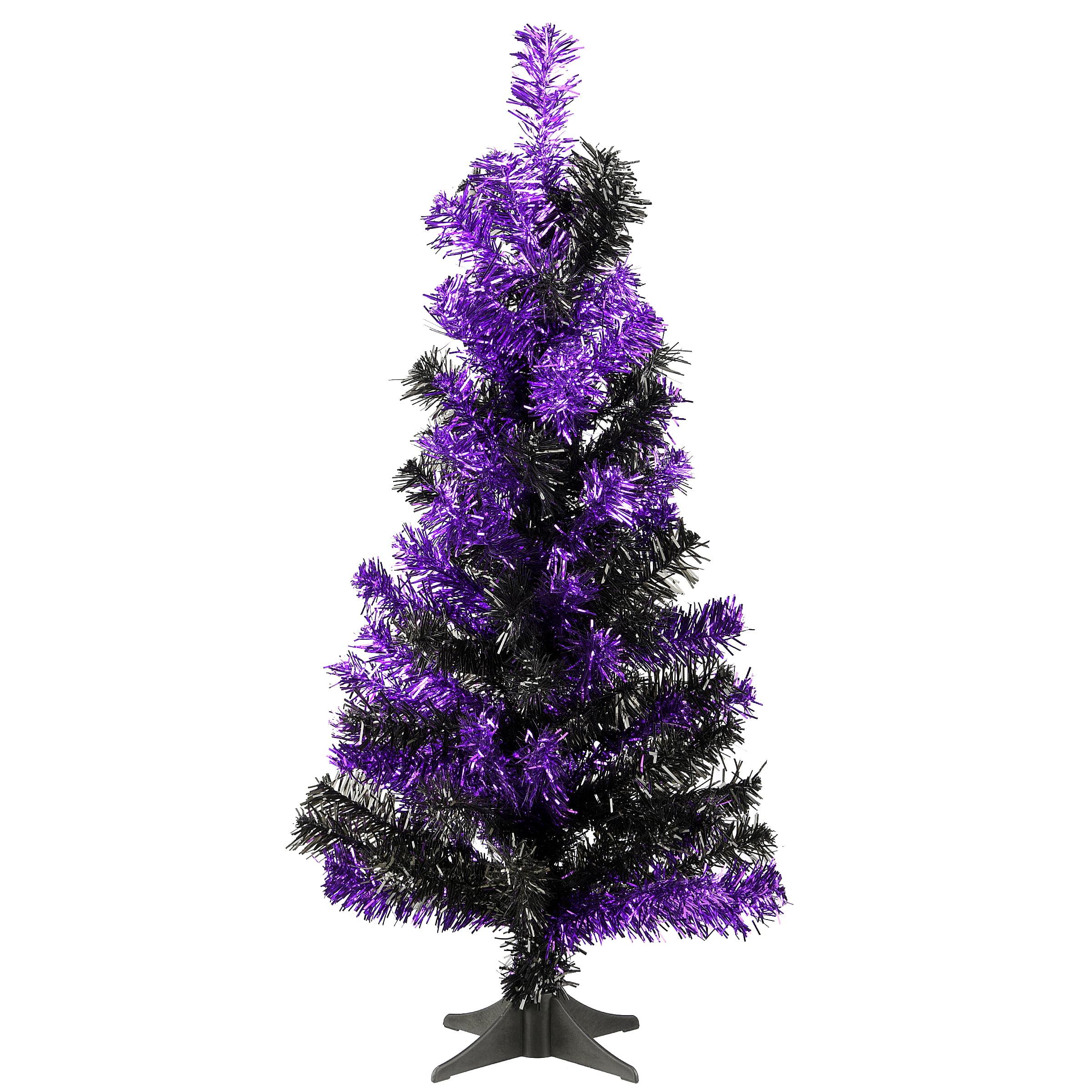 National Tree Company 2 Ft Tinsel Tree Black And Purple Walmart Com Walmart Com