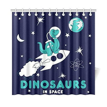 MKHERT Astronaut Dinosaur Shower Curtain Home Decor Bathroom 66x72 Inch