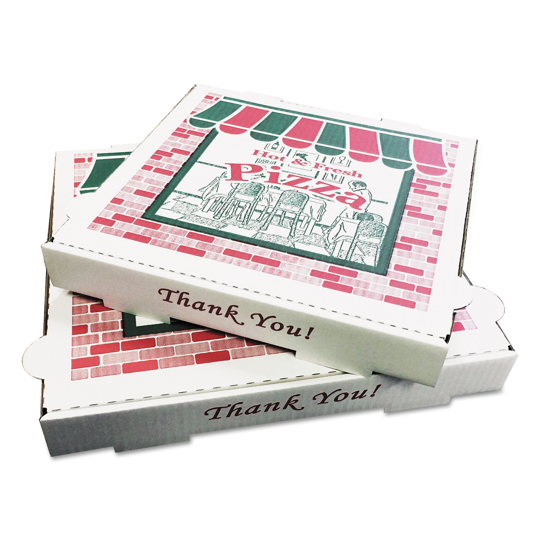 PIZZA Box Takeout Containers, 12in Pizza, White, 12w x 12d x 1 3/4h, 50/Bundle