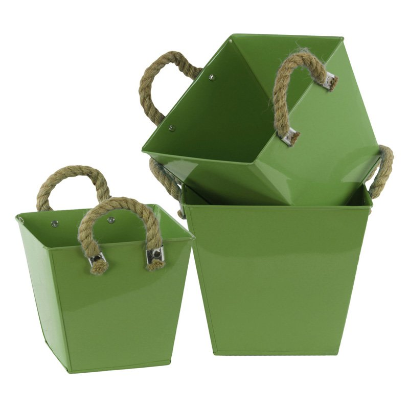 Urban Trends Square Bucket with Rope Handles and Tapered Bottom - Set of 3