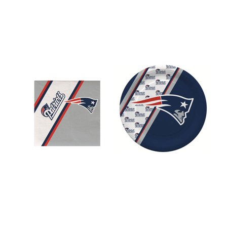 Duck House Sports New England Patriots Paper Plates and Napkins, 20 Count - New England Patriots Plates