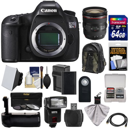 Canon EOS 5DS R Digital SLR Camera Body with 24-70mm f/4L IS Lens + 64GB Card + Battery & Charger + Backpack + Grip + Flash + Kit