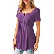 Women's Short Sleeved T-shirt Semi Soild Color Loose Blouse