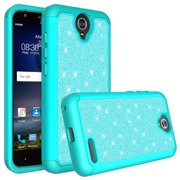 ZTE ZMAX Grand, ZTE Champ, ZTE Avid 916, ZTE Grand X 3 Case, Glitter Bling Hybrid Case with [HD Screen Protector] Dual Layer Protective Phone Case Cover for ZTE ZMAX Grand/Champ - Mint