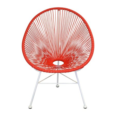 Design Tree Home Acapulco Indoor/Outdoor Lounge Chair, Red Weave on White Frame ()