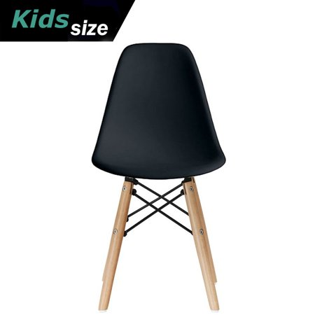 2xhome - Black - Kids Size Plastic Side Chair Black Seat Natural Wood Wooden Legs Eiffel Childrens Room Chairs No Arm Arms Armless Molded Plastic Seat Dowel
