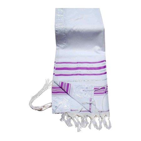 TALITNIA Acrylic Tallit (imitation Wool) Prayer Shawl - LAVENDER & SILVER Stripes - 24L x 72W