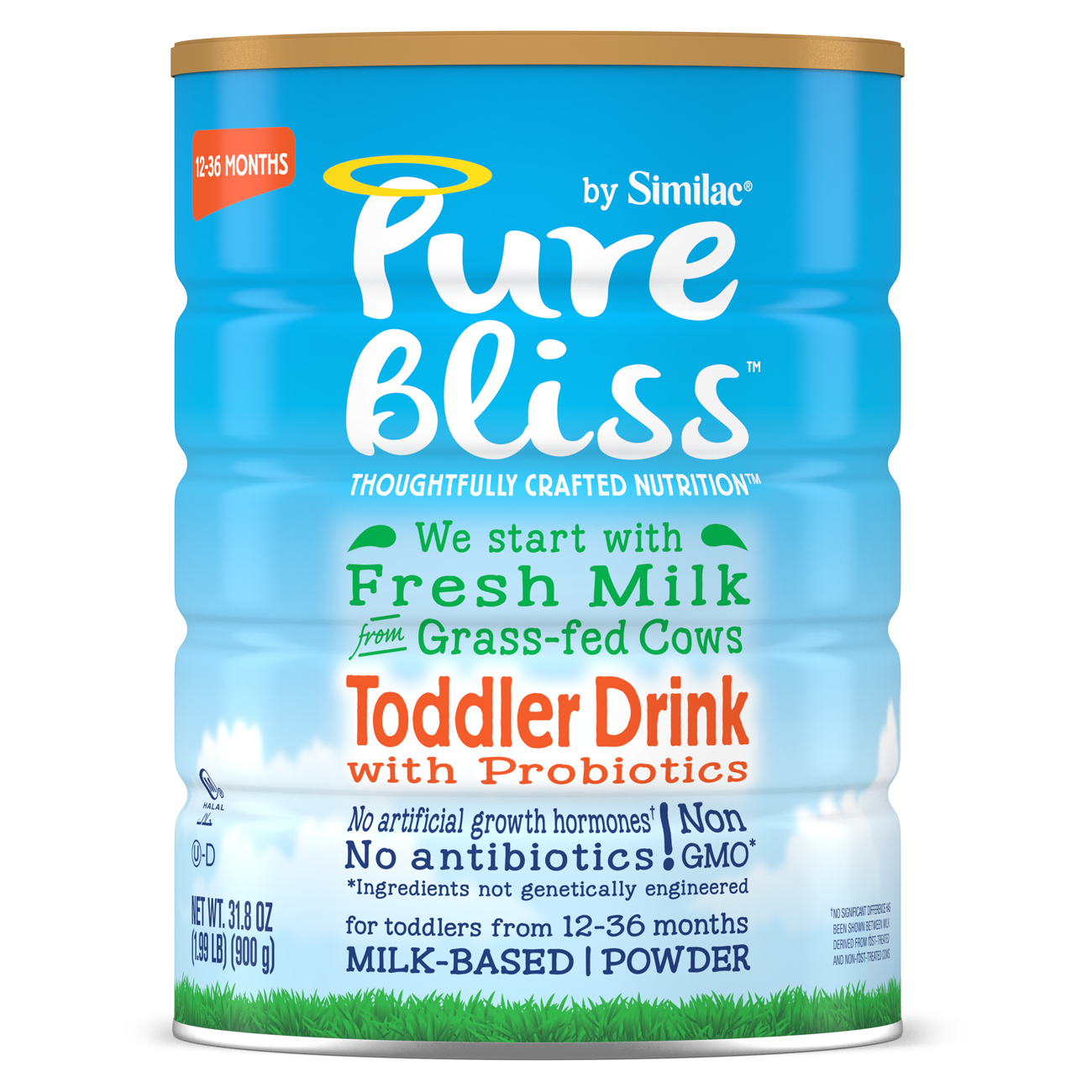 Pure Bliss by Similac Toddler Drink with Probiotics, Starts with Fresh Milk from Grass-Fed Cows, 31.8 ounces