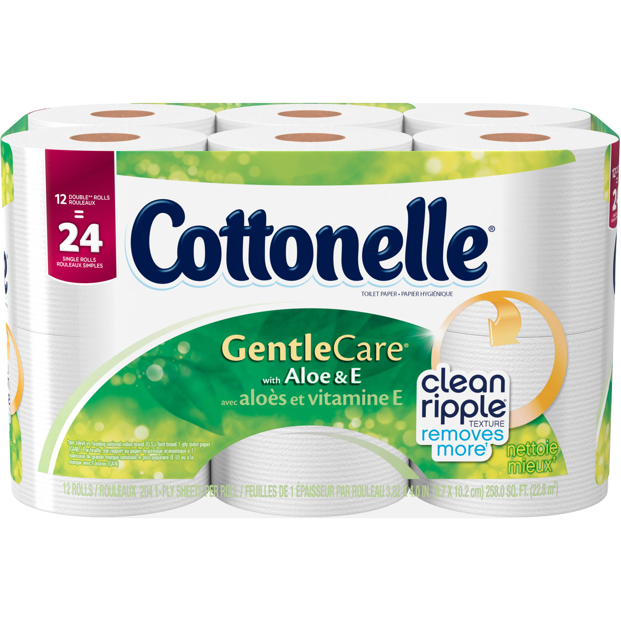 Cottonelle Gentle Care Toilet Paper Double Rolls with Aloe & E, 204 sheets, 12 rolls