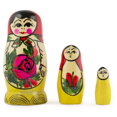 3'' Set of 3 Miniature Semenov Traditional Wooden Matryoshka Russian Nesting - Traditional Russian Outfit