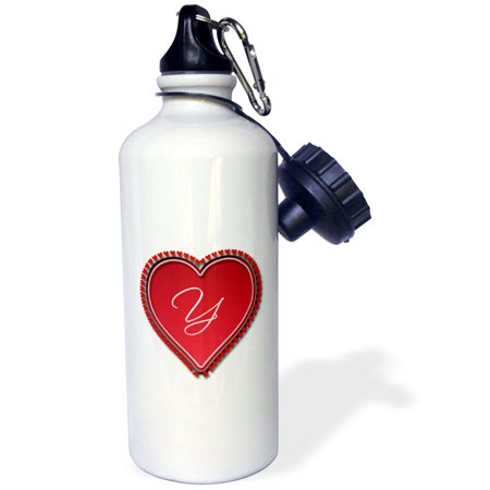 3dRose Large red heart on a white background surrounded by small red hearts and the monogram Y, Sports Water Bottle, 21oz - Monogrammed Water Bottle