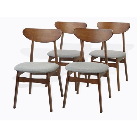 Interior Design Dining (SK New Interiors Set of 4 Solid Wood Yumiko Dining Kitchen Modern Side Chairs w/Padded Seat Medium Brown)