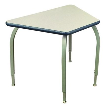 Elo Furniture Series ELO7217-ADJ-SS-32 Elo 24 x 33 Connect 8 desk, 4 Adjustable Smooth Silver Legs, Black Beveled Lotz Armor Edge, Bannister Oak Laminate Top