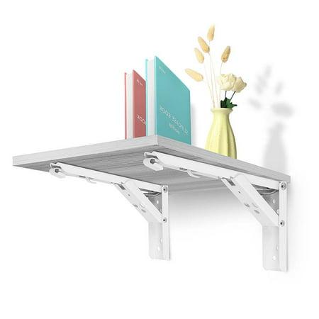 12'' 14'' 2pcs White Folding Shelf Brackets 90 Degree Spring Design Triangular Triangle Hinge Wall Mount Table Bench Sturdy Heavy stainless steel Metal waterproof Foldable