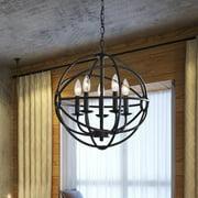 The Lighting Store Benita 5-light Antique Black Metal Strap Globe Chandelier