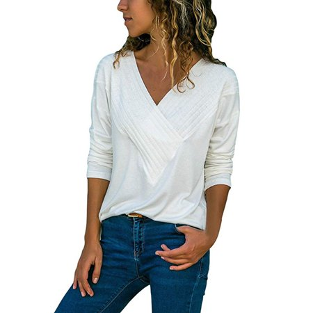 Nomeni Women's Casual Wrap Front V Neck Long Sleeve Loose Fit Basic Blouse Shirt Tops