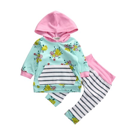 StylesILove Infant Baby Girl Floral Pattern Long Sleeve Hoodie and Pants 2 pcs Outfit (100/18-24 Months, Green)