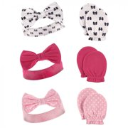 Hudson Baby Infant Girl Cotton Headband and Scratch Mitten 6pc Set, Bows, 0-6 Months