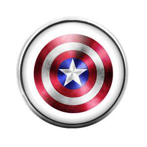Captain America - 18MM Glass Dome Candy Snap Charm GD0120 Captains Wheel Charm