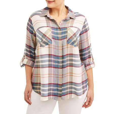 Multi Plaid Shirt - Women's Plus Sized Plaid Blouse