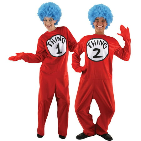 Cat in the Hat Thing 1 & Thing 2 Deluxe Adult Costume - L/XLarge - Thing One And Thing Two Halloween Costumes