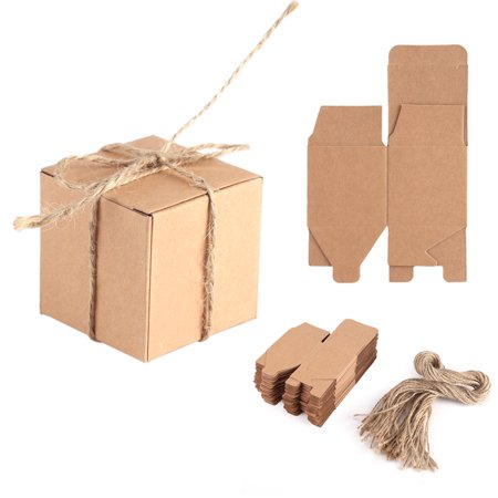 50pcs Kraft Paper Candy Box Square Rustic Wedding Favors Candy Holder Bags Wedding Party Gift Boxes with Hemp - Kraft Boxes