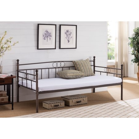 Molly Platform Daybed Frame With Mattress & 7 Slats, Twin, Pewter Metal, Modern (Headboard, Footboard, Rails, Slats & Mattress)