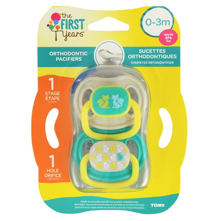 (2 Pack) First Years Newborn Orthodontic Pacifier, 0-3 Months, Animal Design - 2 Count