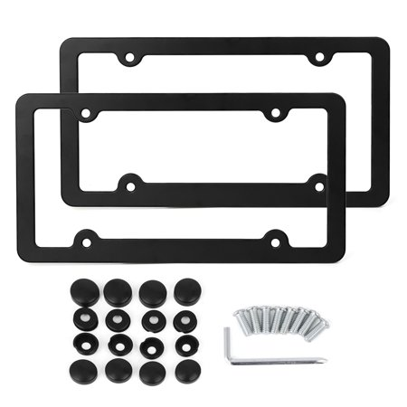 2 Pcs Aluminum Alloy Front Rear License Number Plate Frame w/ Screws - 4 Hole
