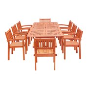 Eco-Friendly 9-Piece Wood Outdoor Dining Room Set with Rectangular Extension Table and Stacking Chairs V232SET33 by VIFAH LLC