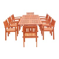 Malibu Outdoor 9-piece Wood Patio Dining Set with Extension Table & Stacking Chairs