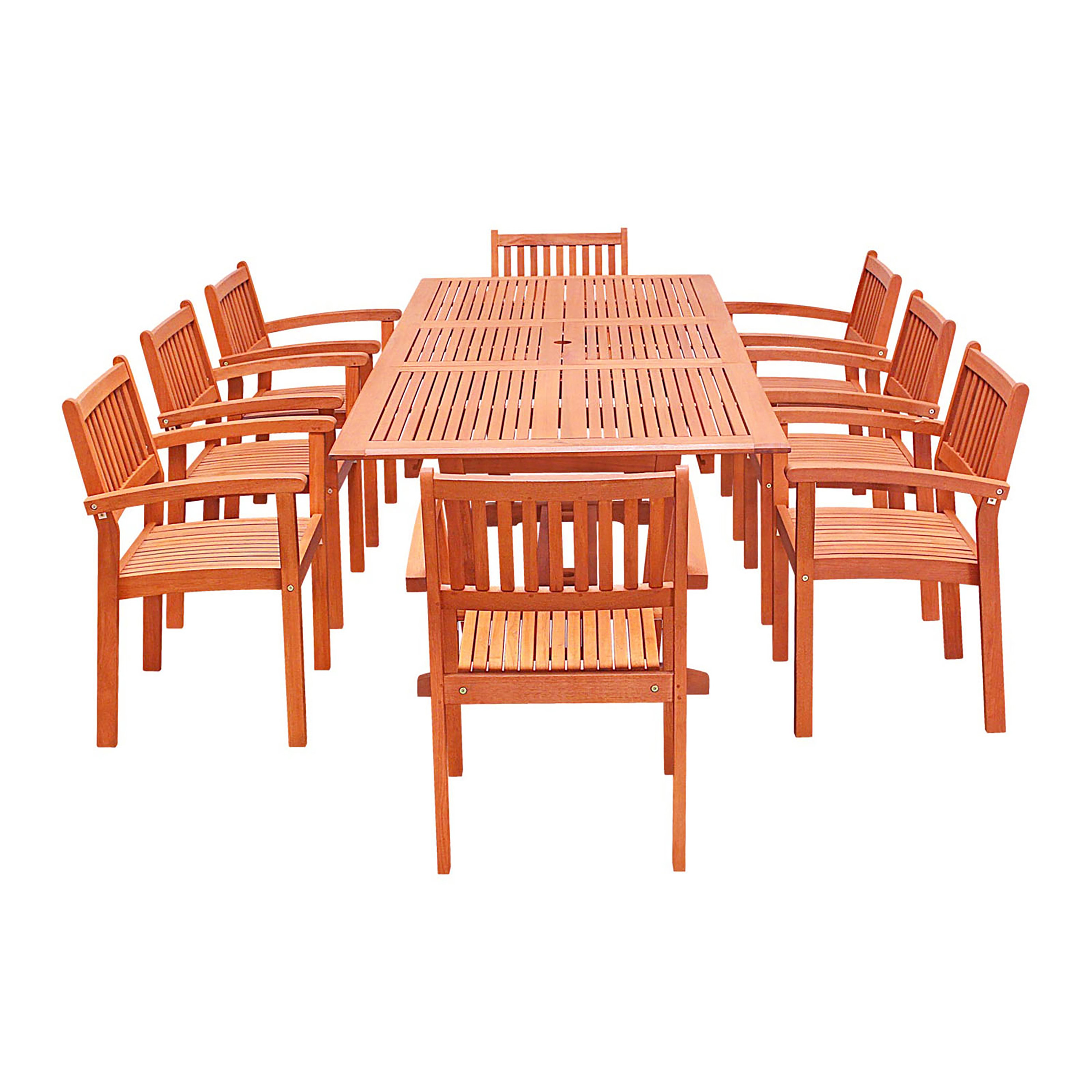 Product Image Eco Friendly 9 Piece Wood Outdoor Dining Set With Rectangular  Extension Table And Stacking