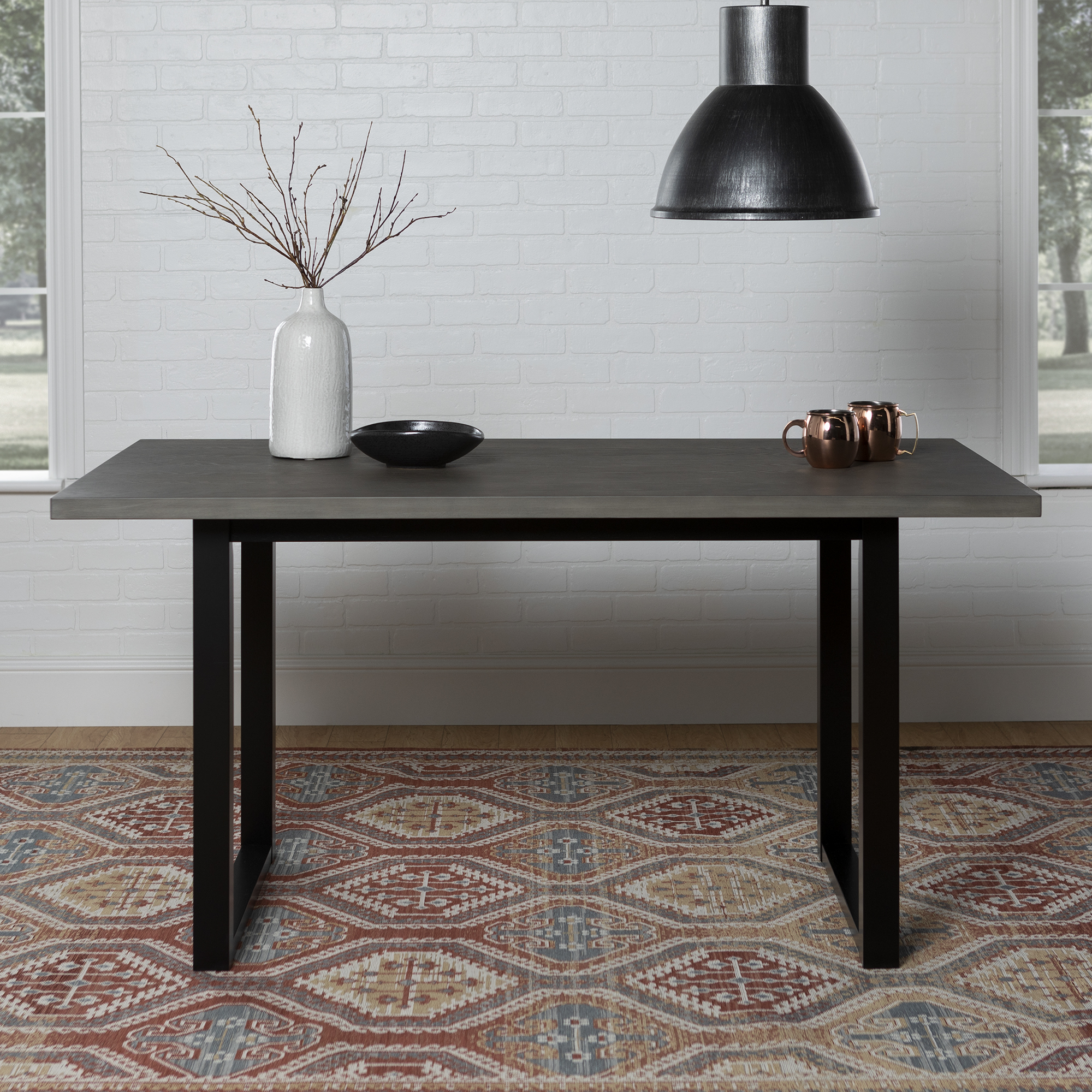 """Walker Edison 60"""" Wood Dining Table - Aged Grey"""