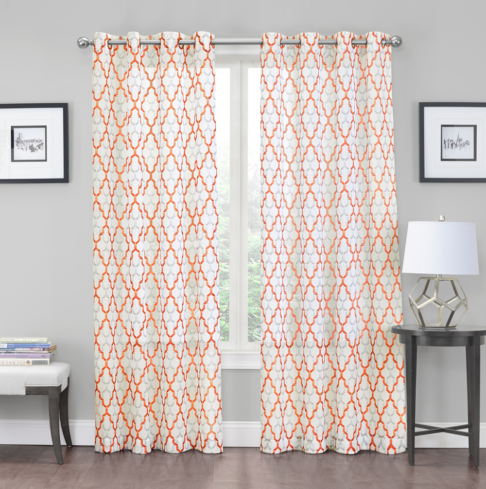 2 Pack: Charlton Luxurious Trellis Crushed Grommet Sheer Voile Curtains Spice by Regal Home Collections