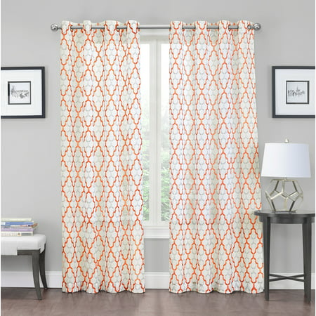2 Pack Charlton Luxurious Trellis Crushed Grommet Sheer Voile Curtains