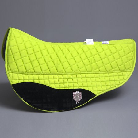30 inch. X 38 inch. PRI PREMIUM DOUBLE BACK HORSE BARREL SADDLE PAD W/ FLEECE LINED LIME ()