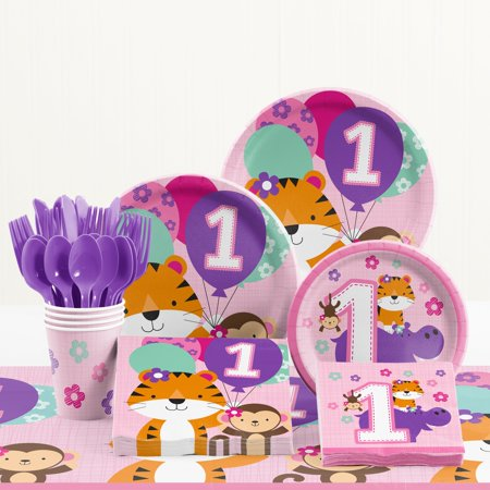 One is Fun Girl 1st Birthday Party Supplies Kit - First Birthday Party Ideas Girl