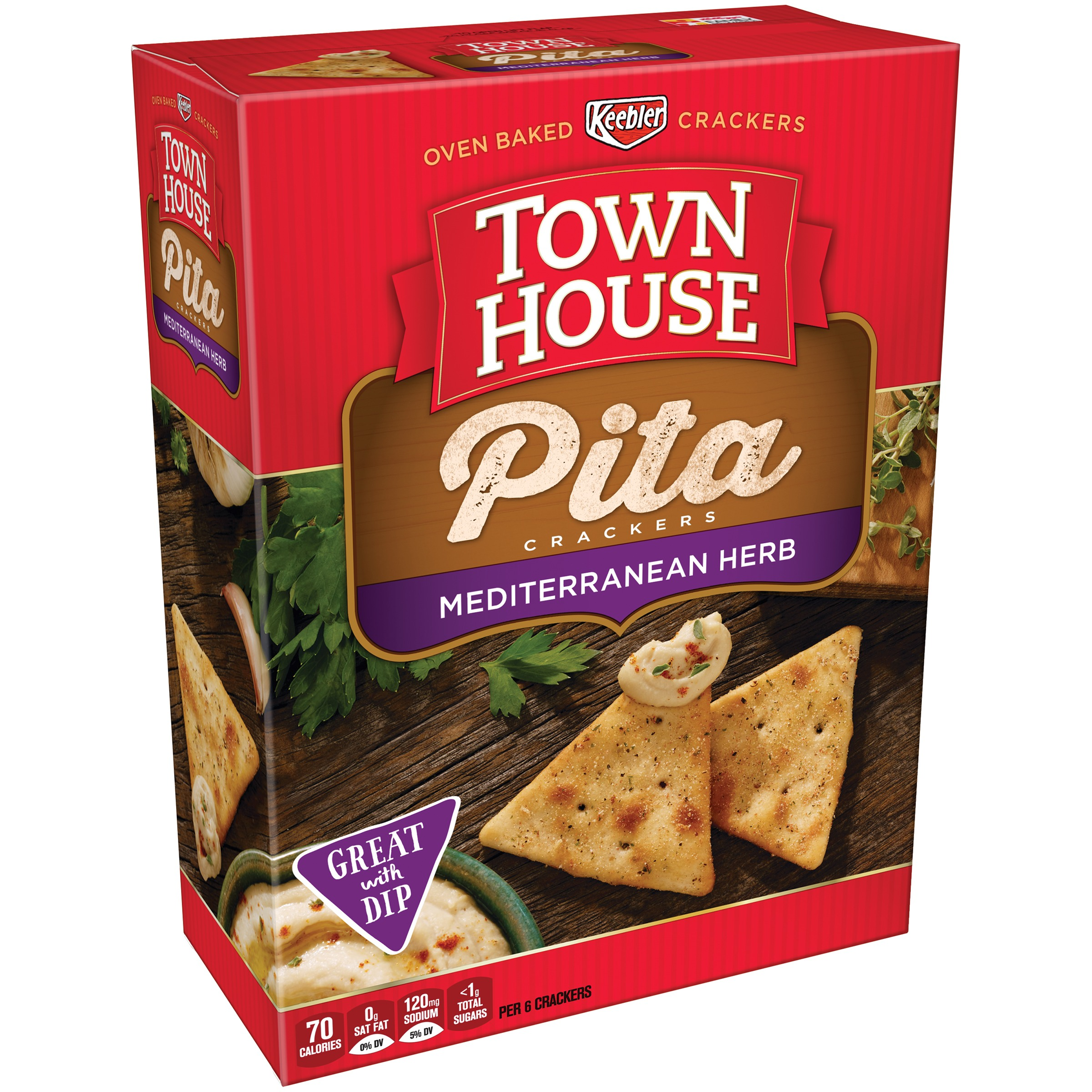 Keebler Town House Pita Crackers, Mediterranean Herb, 9.5 Oz (Pack of 2)