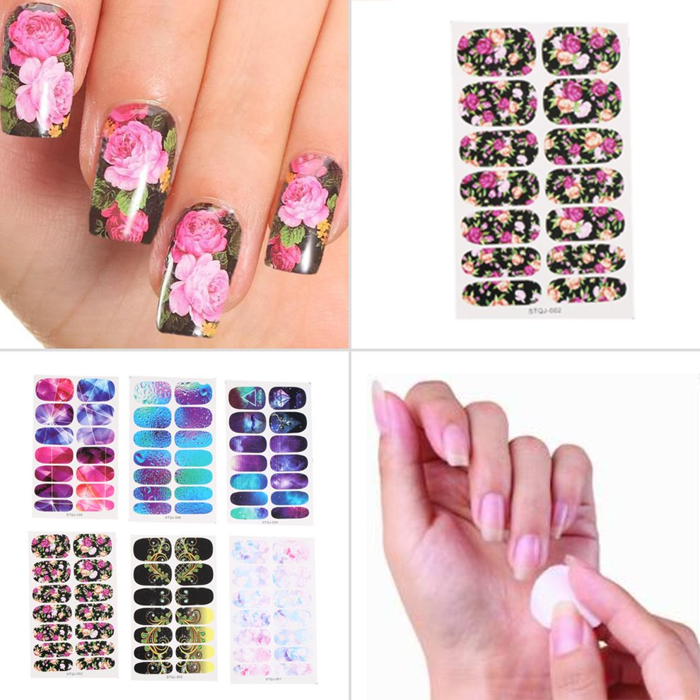 6 Styles Water Transfer Nails Art Sticker Pink Red Rose Flowers Design Nail Sticker Manicure Decor Tools Cover Nail Wraps Decals