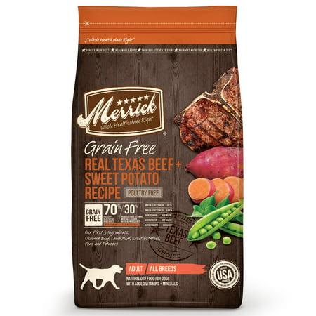 Merrick Grain-Free Real Texas Beef + Sweet Potato Recipe Dry Dog Food, 25 lb